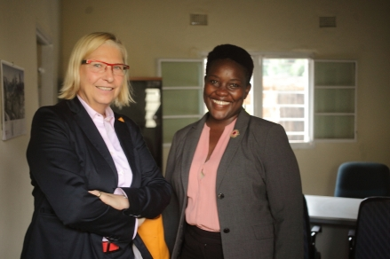 Dr Dagmar Lumm (Country Director, GIZ) and Sarai Chisala-Tempelhoff (President, WLA) at the WLA Offices in Area 47/3 Lilongwe